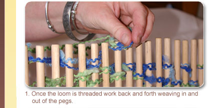 1. Once the loom is threaded work back and forth weaving in and out of the pegs